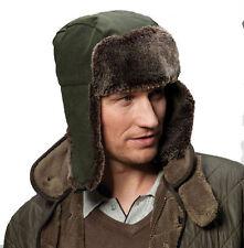 LADIES MENS ADULT WAXED OLIVE KHAKI DELUXE FUR TRIM TRAPPER HAT WARM WINTER NEW