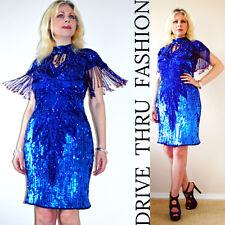 VTG 70s FLAPPER Beaded Sheer Silk Sequins CUT OUT Fringe TROPHY Party Mini Dress