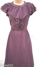 SIZE 8 10 WW2 1940s VINTAGE STYLE SWING LINDYHOP TEA DRESS FRILL ~ US 6 EU 36 38
