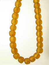 Recycling Glasperlen 13 - 14mm amber braun Krobo Ghana Powder Glass Beads
