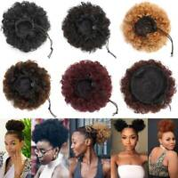 Natural Afro Hair Bun Synthetic Kinky Curly Ponytail Puff Drawstring-
