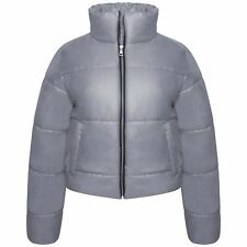 NEW LADIES UK WOMENS PUFFER PADDED QUILTED BUBBLE FUNNEL NECK CROP JACKET COAT