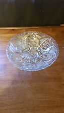 "Beautiful Vintage Cut Glass Candy / Nut dish 9 1/4"" Wide Three Footed feet"