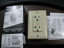 New Pass & Seymour 2091-I 20 Amp Ivory Duplex GFCI Receptacle with Wallplate