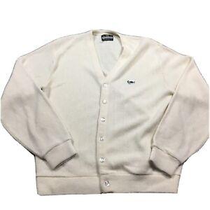 VTG CROWN SPORTSWEAR ROCKABILLY Turtle Logo L Acrylic Ivory Sweater L 60s 70s
