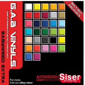 A4 sheets - Siser EasyWeed EXTRA - PREMIUM HTV Vinyl - Iron on - G.A.B Vinyls
