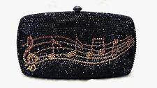 Black Music Note ~New~Bridal/Prom/Evening Handmade Crystal Metal Case Clutch Bag