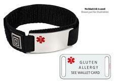 GLUTEN ALLERGY Sport Medical Alert ID Bracelet. Free medical Emergency Card!