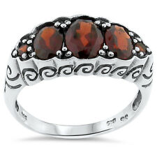 GENUINE GARNET ANTIQUE NOUVEAU STYLE .925 STERLING SILVER RING SIZE 9,   #172