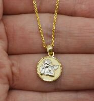 "14K Solid Yellow Gold Guardian Angel Pendant  Charm +18"" chain"