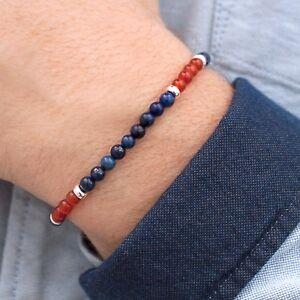 MEGBERRY® Mens Beaded Bracelet - 925 Sterling Silver, Lapis Lazuli & Carnelian