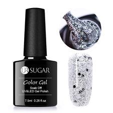 7.5ml Holographic Glitter Soak Off UV Gel Polish Sequins Varnish Silver UR SUGAR