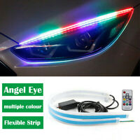 2PCS LED Light Strip Headlight Sticker DRL RGB Angel Eye Universal For Car Truck