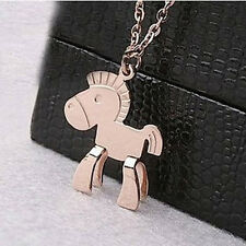 Cute Horse 18K Rose Gold Plated Titanium Steel Clavicle Chain Pendant Necklace