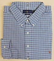 98 Ralph Lauren Polo Pony Plaid Oxford Long Sleeves Classic Dress Shirt Big Tall