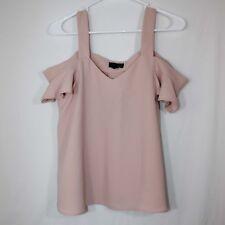 TopShop Womens V-Neck Cold Shoulder Spaghetti Strap Top Size 4 Pink Off Shoulder