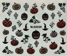 Nail Art 3D Glitter Decal Stickers Halloween Pumpkin Witch Hat BLE922D