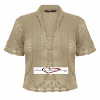 Ladies Knitted Short Sleeve Cardigan Shrug Crochet Style Cardigan Size 8-14