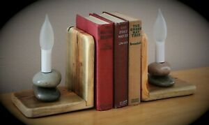 Rustic Stone Lamp Book Ends Cabin Lodge Southwestern Country Farmhouse Decor