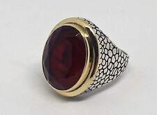 Turkish Ottoman Red Ruby Gemstone Solid 925 Sterling Silver Men Ring