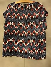 Next Navy & Red Print Sheer Top - Size 18