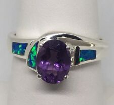 NOS Sterling Silver 925 Ring Size 7 w/ Lab Created Opals and Amethyst Cut Stone