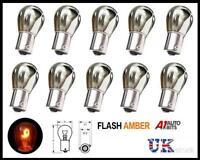 10x Argento Cromato Lampadine Inclinato Spento Set Perno Freccia Flash Arancione