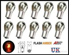 10x Chrome Silver Bulbs Bulb Offset Off Set Pin Indicator Flash Orange Amber 343