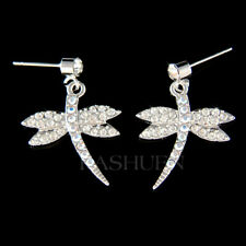 DRAGONFLY~ Nature Wildlife made with Swarovski Crystal Insect Earrings Jewelry
