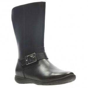 Clarks Girls Venture Moon Black Leather School Boots Size 11.5 G