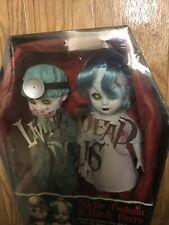 2000 Mezco ~ 2 Living Dead Dolls ~ Dr Dedwin & Nurse Necro ~ Nib with Coffin