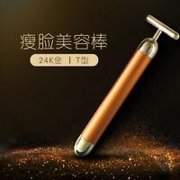 Face Skin Vibration Skincare Massager Device 24k Gold Beauty Bar Facial Roller