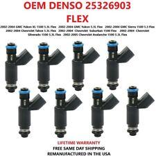 8X OEM DENSO 25326903  Flex Fuel Injectors For  2002-2005 GMC / CHEVROLET  5.3L