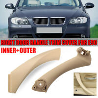 Beige Right Side Inner+Outer Door Panel Handle Pull Trim Cover Fit BMW E90 328i