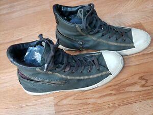 John Varvatos Men's Converse Black Leather on Top Tenis Shoes Size 9.5