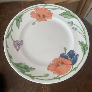 6 Villeroy And Boch Amapola Floral Dinner Plates