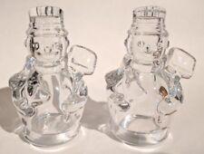 Shannon Crystal by Godinger Snowman Salt & Pepper Shaker Set Christmas Winter