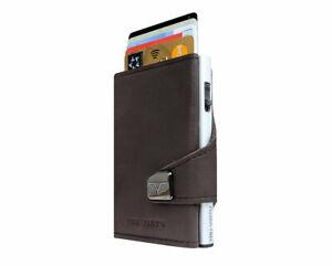 Tru Virtu Click & Slide Leather Wallet Made in Germany - Nappa Brown /Dark Brown
