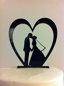 Silhouette Heart Leaning Bride Groom Kissing Acrylic Wedding Cake Toppe MADE Inr