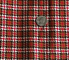 """Fine Wale Cotton Corduroy Fabric Plaid Red Brown Black & White 45"""" Wide x 3 Yds"""