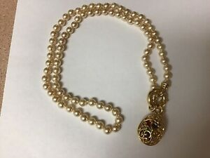 JOAN RIVERS FAUX PEARL NECKLACE WITH EGG MULTI COLOR BEAD CAGE PENDANT