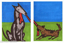 Puppy Dog tug of war David Venne ACEO Canvas Folk Art Prints