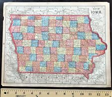 Authentic 1889 Vintage Color Map  MISSOURI & IOWA  2-Sided Large RARE Detailed