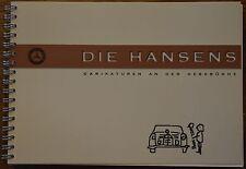 """Die Hansens"" Carikaturen an der Hebebühne Mercedes Oldtimer Ponton Heckflosse"