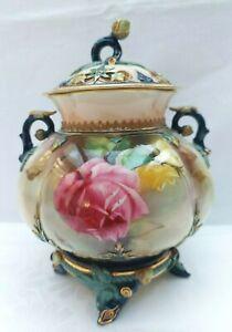 Antique Royal Worcester Hadley Potpourri Blush Rose signed 1909