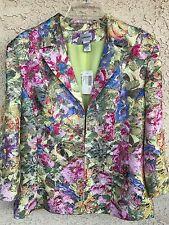 Chico's NWT 3/4 Sleeve Artful Flower Paulette Jacket Soft Lime Size 3  L 16-18