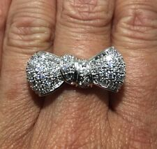 HUGE! Solid 925 Sterling Silver CZ Bow /Ribbon Statement Pave Ring Sz 6