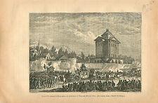 Louis XVI à Paris après Varennes 25 Juin 1791 GRAVURE ANTIQUE OLD PRINT 1873