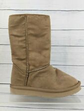 Girls Youth Old Navy Tan Faux-Suede Fur-Lined Boots 13