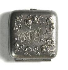 Vintage Antique Old Monogrammed Floral Motif Pillbox Pill Snuff Box